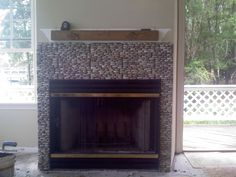 Tile Fireplaces Fireplace Designed With Stacked River Rock