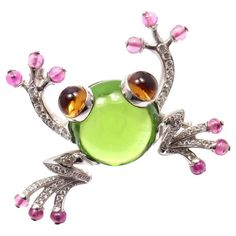 Bulgari Peridot Pink Sapphire Citrine Diamond Gold Frog Pin Brooch | From a unique collection of vintage brooches at https://www.1stdibs.com/jewelry/brooches/brooches/ #DiamondBrooches #gemstonebrooches