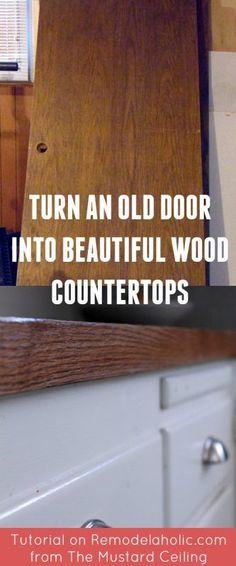 How to use an old wood door to make budget-friendly DIY wood countertops @Remodelaholic