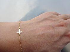 Tiny Cross Bracelet Sideways Cross Bracelet Gold by ShebasGems