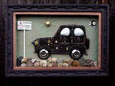Настенное панно в стиле стимпанк #steampunk#автомобиль#хендмейн#творчество#рисунок