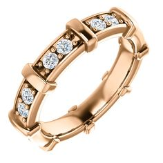 14kt Rose Gold 2mm Round 16 Diamond Engagement Ring (ST122400:2068:P) Price: $609.99 #diamondbands #weddingbands #goldbands #gold #diamond #14kt #Rosegold #Rose