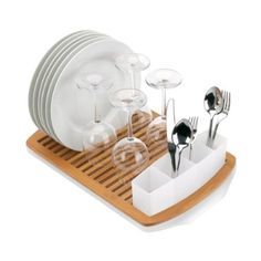 Amazon.com: Umbra Slat Bamboo Dish Drying Rack with Tray: Home & Kitchen
