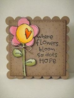 pop of color witha flower on a kraft card. Atc Cards, Card Tags, Paper Cards, Scrapbook Cards, Scrapbooking, Heart Flower, Flower Doodles, Stationery Paper, Get Well Cards