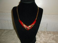 VTG. TRIFARI TM RED/MAROON GLITTER ENAMEL & SHINY GOLD SERPENTINE CHAN NECKLACE~ #TrifariTM #ArtDecoChain