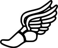 Running shoe track shoes with wings clipart