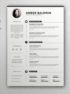 CV template with cover letter CV template MS Word Design Simple Resume Template, Resume Design Template, Cv Template, Resume Templates, Visual Resume, Basic Resume, Modern Resume, Conception Cv, Word Cv