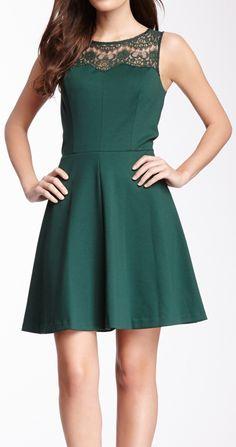 Emerald lace collar dress