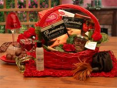 Send the magic of a spectacular massage with this exquisite romantic gift basket meant for the loving couple. This gift includes a romantic massage kit complete with oils and candles, decadent chocolates, body art, and much more. Anniversary Gift Baskets, Wedding Gift Baskets, Valentine Gift Baskets, Valentine's Day Gift Baskets, Valentines Day Gifts For Her, Basket Gift, Valentines Surprise, Valentine Special, Gift Hampers