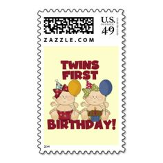 Twins 1st Birthday - Girls Tshirts and Gifts Postage Stamp. This great stamp design is available for customization or ready to buy as is. Of course, it can be sent through standard U.S. Mail. Just click the image to make your own!