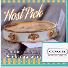 "⭐️2X•HP⭐️Coach 1/2"" Turn Lock Bangle Coach Half Inch Turn Lock Bangle in White & Gold. Brand Spankin' New with Tags. *Stock Photo Courtesy of Coach*  ☑️ Suggested User • 5⭐️Seller •10%  Ask about a Bundled Price!  Fast Shipper Cruelty Free Item ❔Questions Welcome! No Paypal•Trades•Holds  on IG @generationXgirl ✌️Peace  Luck and Posh On!  Coach Jewelry"