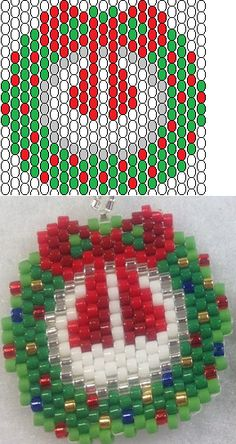 beading peyote stitch christmas wreath earrings