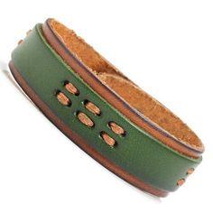 R&B Joyas - Pulsera hombre, estilo urbano cierre presión, pulsera cuero, color verde / marrón: Amazon.es: Joyería
