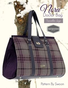 Nora Doctor Bag Swoon Traveller size in Eggplant purple and grey plaid winter fall tote traveler carry on