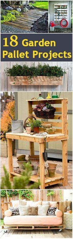 How to Build Garden Furniture from Pallet Wood - 18 great projects, many with links to tutorials - via Bless My Weeds