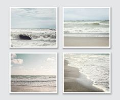 Beach Decor Set, Ocean Art Print Set, Beach Landscape Photography, Set of 4 Prints, Neutral Peaceful Soothing Grey Mint Beige Nautical Art. Beach Wall Decor, Wall Decor Set, Beach House Decor, Beach Condo, Ocean Art, Ocean Canvas, Canvas Art, Coastal Art, Coastal Living