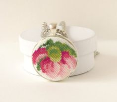 Embroidered necklace Red Peony  pendant by LovelyLionessart