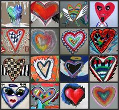 Jim Dine Art, students represent an emotion based upon a heart.  Media is oil pastels