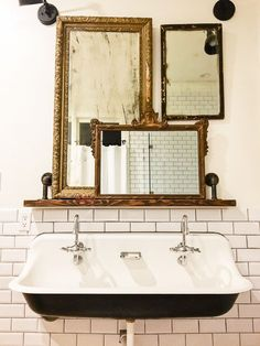 Such an easy idea to layer mirrors over a bathroom sink, but it makes such an im. Such an easy idea to layer mirrors over a bathroom sink, but it makes such an impact! And I love that farmhouse sink and. Bathroom Sink Design, Bathroom Niche, Bathroom Red, Small Bathroom, Master Bathroom, Bathroom Styling, House Minimalist, Minimalist Bathroom, Bathroom Remodel Cost