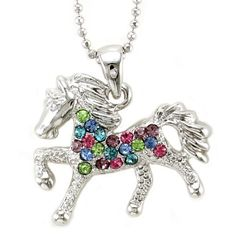 Multicolor Colorful Horse Pony Mustang Animal Pendant Necklace Western Charm High Polish Silver Tone Ladies Teens Girls Women Fa...