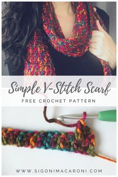 The Simple V-Stitch Crochet Scarf is a free crochet pattern featuring Red Heart yarn. It is a fast, easy, and unique infinity scarf pattern to work up. It is also the perfect project for variegated yarn. I especially love these colors from this particular Red Heart Soft yarn! #redheartyarnfreepatterns #redheartyarncrochet #redheartyarncolors #redheartyarnvariegated