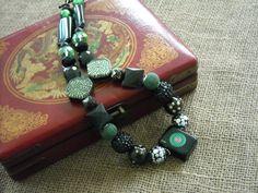 Black Mahjong Necklace - Oriental Jewelry - Mah jong Jewelry by Earmarksdesigns on Etsy
