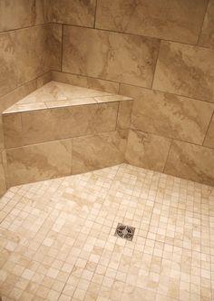 Ceiling and Wall Tile: Angora Montecelio Beige 12 x 12 and 12 x Shower Floor: Angora Montecelio Beige 2 x 2 Shower Floor Tile, Bathroom Floor Tiles, Wall Tiles, Basement Bathroom, Master Bath Shower, Master Bathroom, Shower Tile Designs, Downstairs Toilet, Beige Bathroom