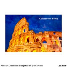 Postcard Colosseum twilight Rome