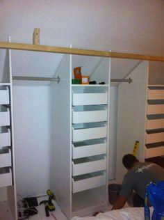 Attic Bedroom Storage, Attic Master Bedroom, Attic Bedroom Designs, Loft Storage, Upstairs Bedroom, Ikea Storage, Attic Rooms, Attic Spaces, Closet Designs