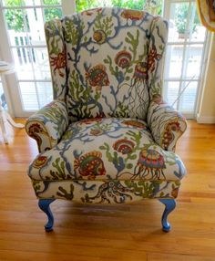 Vintage Refurbished Funky, Coral Ocean-Look Wingback Chair with Ottoman