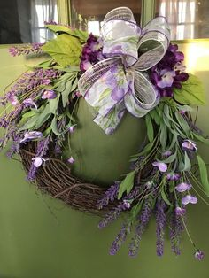 Be ready for Spring!  Rustic Lavender Grapevine with Floral Bow Wreath for Door