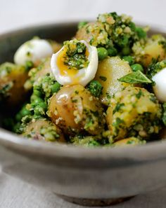 Royal potato salad by Yotam Ottolenghi May 22 2013 - Jersey Royals are at their peak in spring and early summer, which is just as well since they make a stunning picnic salad. This is a poshed-up version of the ordinary spud salad and it's just as satisfying. http://www.thelondonmagazine.co.uk/London-Living/More-London-Living/New-Ottolenghi-recipes.html