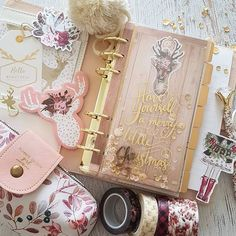 """Two big things for next week. I've created my first shaker dashboard and im moving into my pause kikki planner. I made the ""have yourself a merry little christmas"" using a design from the silhouette stores and running it through my minc. Isn't it wonderfully luxe christmassy??? """