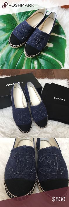 Chanel Denim canvas Espadrilles casual flats Brand new 100% authentic. Comes with Chanel dust bag and box. Euro size 36= US size 6. True to size, they may be a bit snug when first trying on, but the material stretch out after wear. Box has some damage, the shoes are perfectly fine and new. NO TRADE. PRICE FIRM, NO OFFER ACCEPTED. No unnecessary or rude comment! CHANEL Shoes