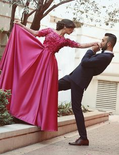 Boat Neck A Line Fuchsia Said Mhamad Formal Evening Dresses Long Sleeve Flowers Lace Graceful Prom Dress