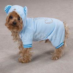 Pijama com capuz fofo e quentinho para cães.