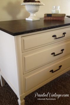 Today I am sharing how we ditched the laminate tops on a pair of 1970's nightstands to achieve a classic Two-Toned Nightstands!