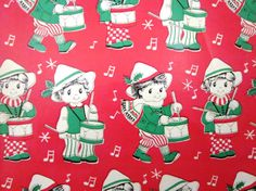 Vintage Wrapping Paper  Little Drummer Boy  One by TillaHomestead