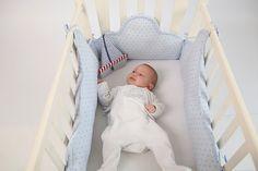 Crib/cradle Clouds bumper - light blue stars