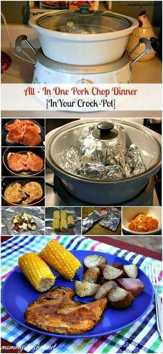 All-in-One Crock Pot Pork Chop Dinner!  http://www.mommyskitchen.net/2014/02/all-in-one-pork-chop-dinner-cooked-in.html #crockpot #porkchops #summermeals