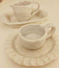 Coil pot mug and jug. Slab built roaring dish and plate #coilpots