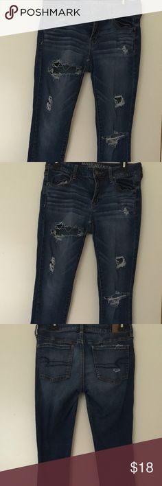 American Eagle Outfitters Women's Blue  8 Jeans American Eagle Outfitters Women's Blue Distressed Jeggings Size 8 Jeans American Eagle Outfitters Jeans