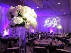 GOBO against drapery Wedding Spot, Wedding Dj, Wedding Reception, Wedding Venues, Reception Ideas, Light Decorations, Wedding Decorations, Event Planning, Wedding Planning