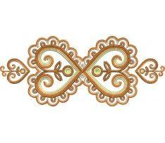 Výšivka Detva 4, 24x10 cm, hnedá Embroidery, Tattoos, Gold, Motifs, Jewelry, Needlepoint, Tatuajes, Jewlery, Jewerly