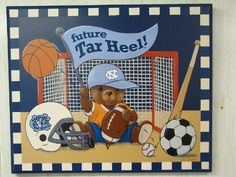 University of North Carolina Tar Heels Baby BOY Plaque - Collegiate Baby Kids UNC Tar Heel Gift Item