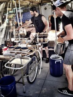 The Bicycle Coffee Co guys brewing up coffees on their bike cart at the Oakland #farmersmarket