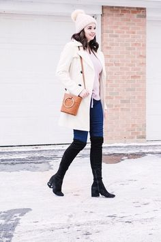Lavender Sweater, White Coat, Black Over-the-Knee Boots Winter Outfit #lookoftheday #ootd