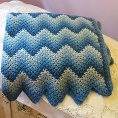 unique afghan | Unusual 4 Tone BLUE GRANNY AFGHAN Bargello Design, Hand Knit, Slate ...