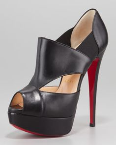 Man these with Black Lingerie....woooooo. Christian Louboutin Pitou Leather Peep-Toe Red Sole Bootie, Black