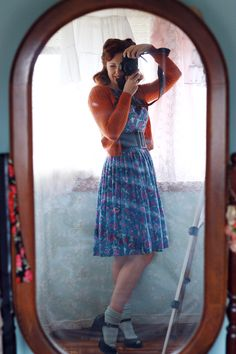 Grey ankle socks, black heels, blue flowered vintage dress, orange cardigan